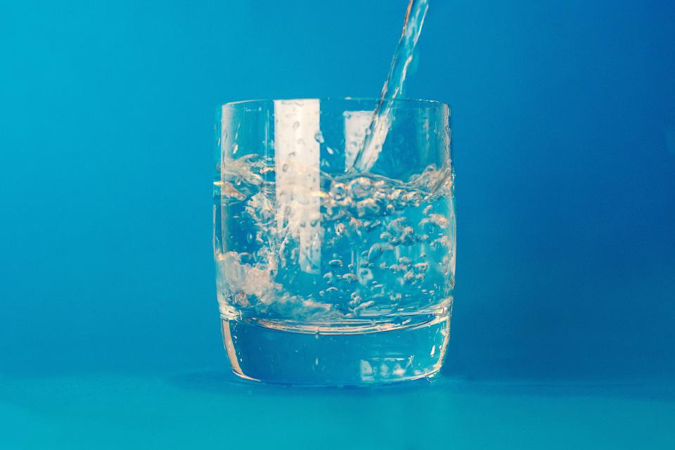 glass water drink blue