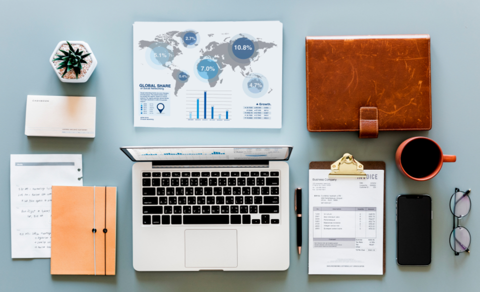 accounting business computer digital device financial flat lay flatlay flay lay form investment isolated laptop mobile phone mug nobody notebook objects office papers passbook pen table technology wireless