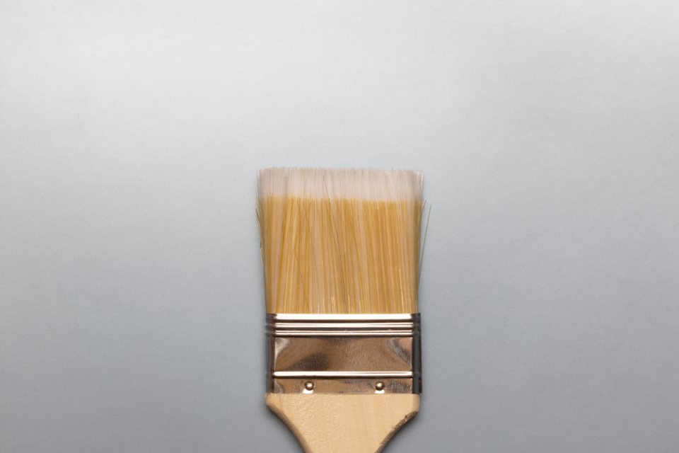 paint brush flat lay gradient background isolated object flatlay design art creative close up texture bristles shiny silver minimal clean simple painting painter abstract wallpaper craft pastel studio style