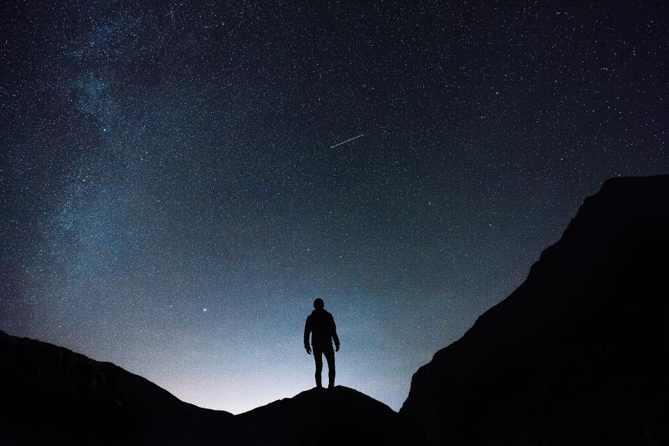 stars galaxy space astronomy night dark evening guy man people outdoors nature landscape mountain climbing silhouette