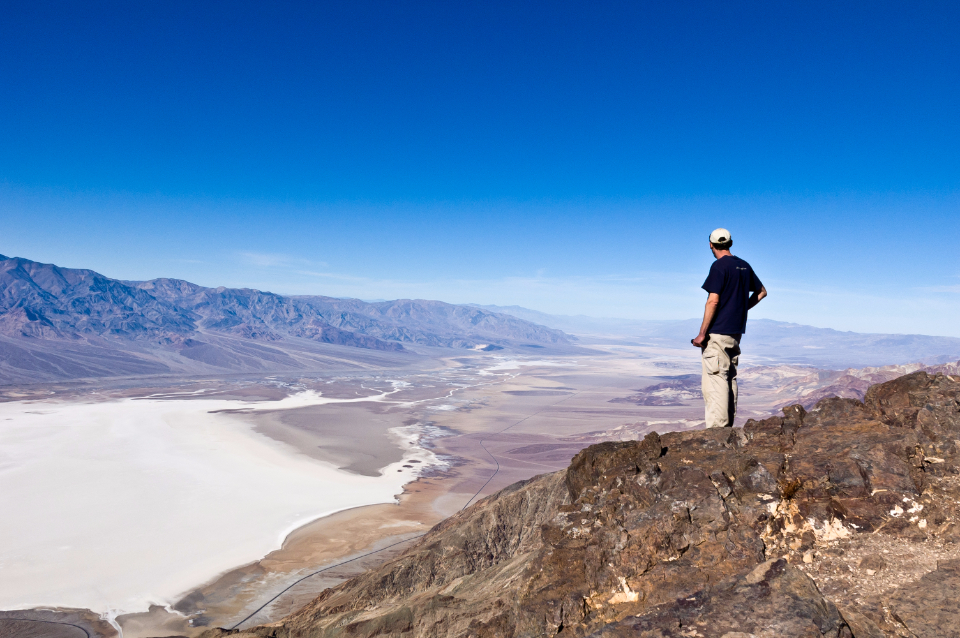 death valley dante view desert valley top dominate travel overlook oversee panorama person hiker
