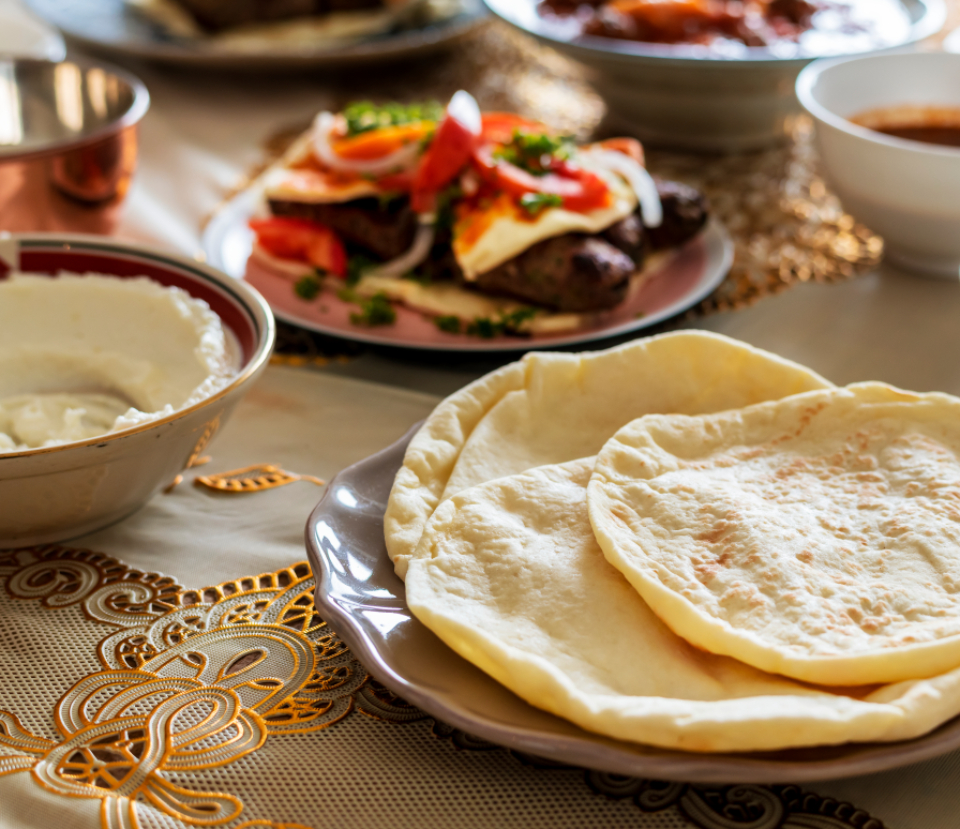 aerial view arabian arabic baking closeup cookery cuisine culinary culture delicious dining dinner dinner table dish eat feast feasting flatbread food halal halal food home cooked islam islamic lebanese lunch meal menu