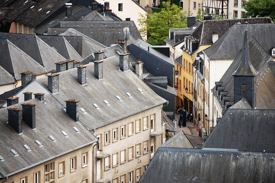 luxembourg houses homes apartments rooftops buildings city urban architecture windows chimneys streets roads