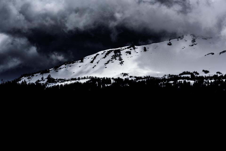 dark mountain highland landscape nature cloud sky snow winter