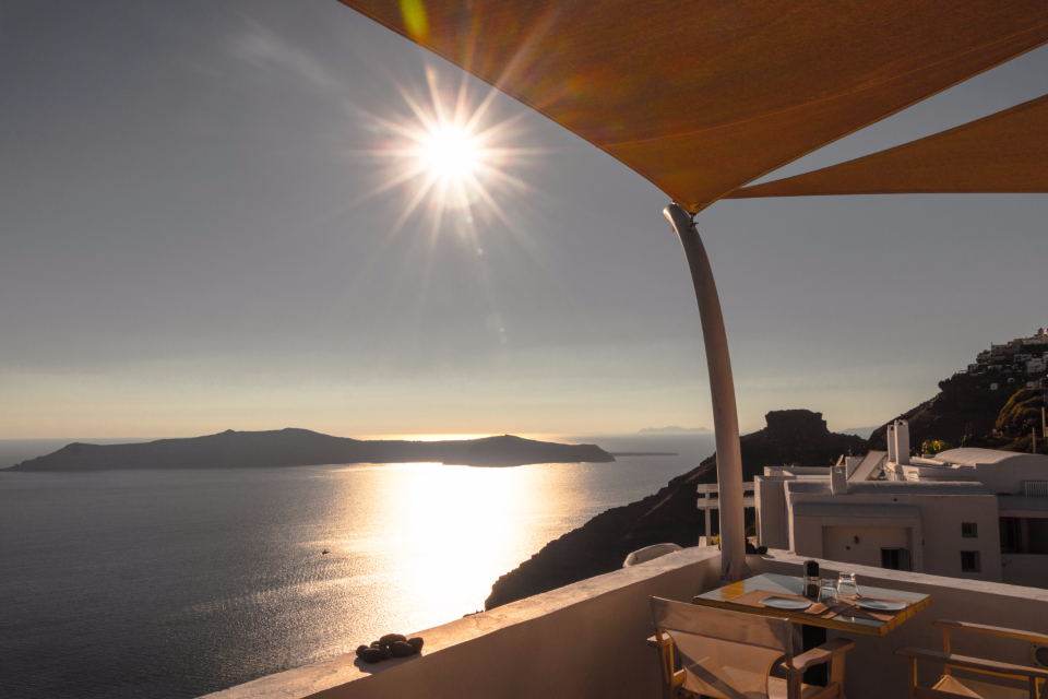Santorini Greece sun