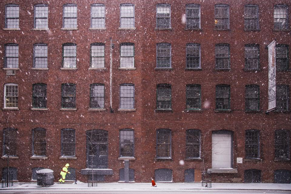 buildings architecture city urban windows apartments snow blizzard sidewalk street