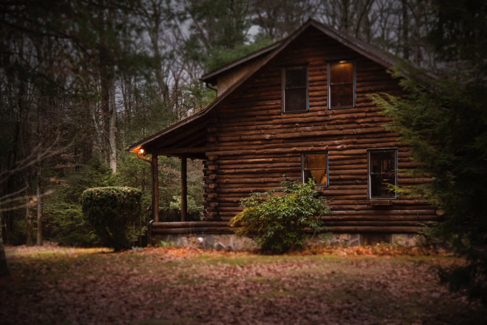 log cabin forest wood rustic nature house home relax vacation travel