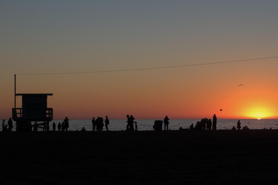 urban city people silhouette park water ocean sea sunset sky