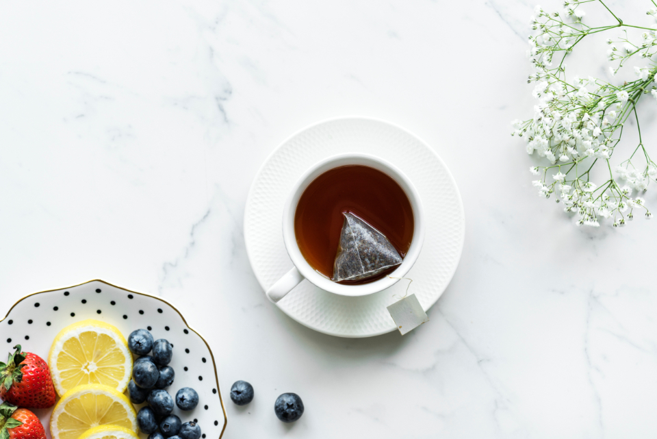brew cafe cup daily design space drink earl grey english tea enjoying flat lay flatlay flower fruit hot drink lifestyle marble menu morning mug organic refreshing refreshment relax routine s