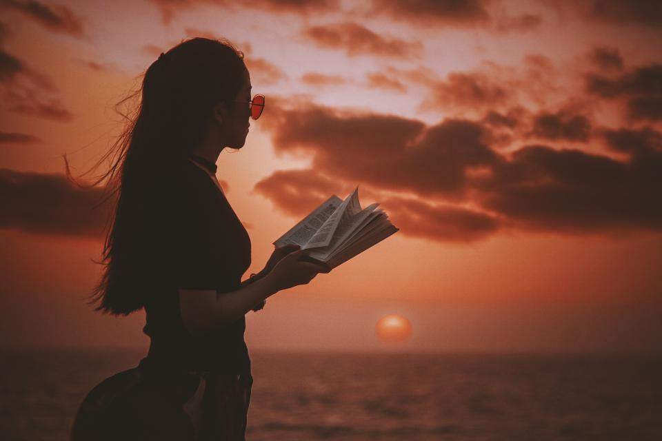 sea ocean clouds sky sunset view people girl reading book relax
