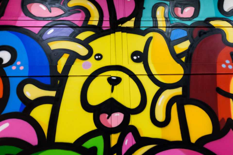 colorful graffiti art urban paint dog bold bright artist creative design city spray paint