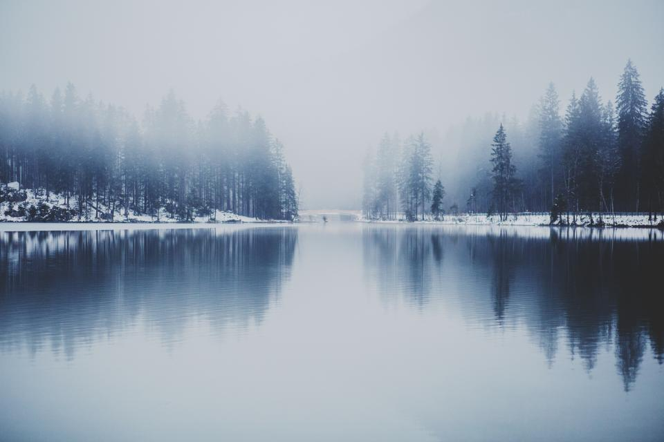lake river water reflection outdoors landscape nature trees forest fog foggy