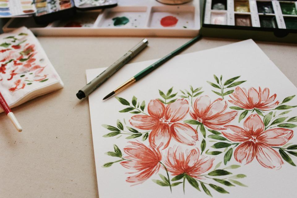 flower pink petal bloom garden plant nature autumn fall paint draw art leaves green watercolor paper