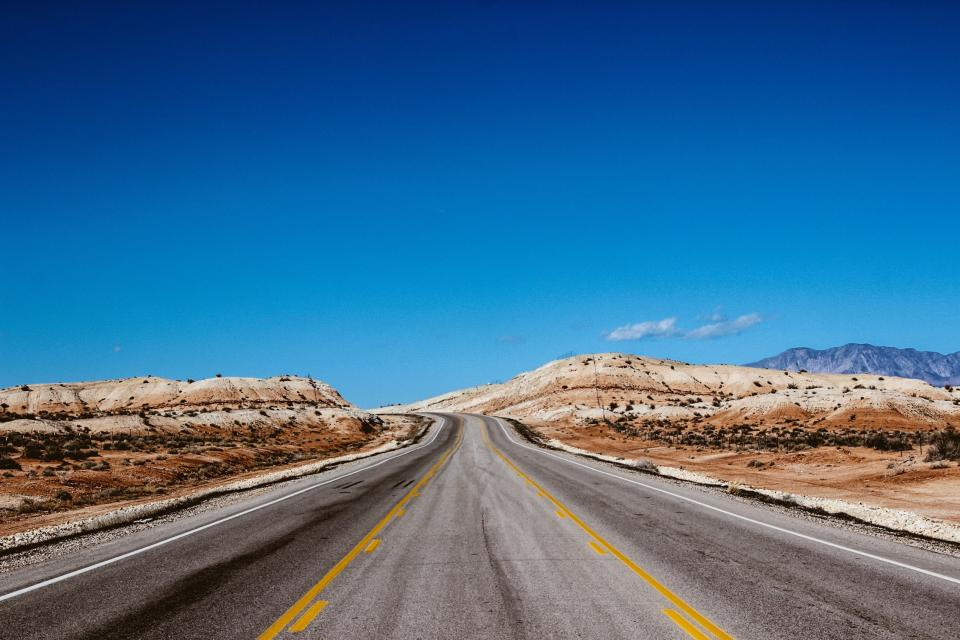 highway road pavement desert nature outdoors blue sky sunshine summer