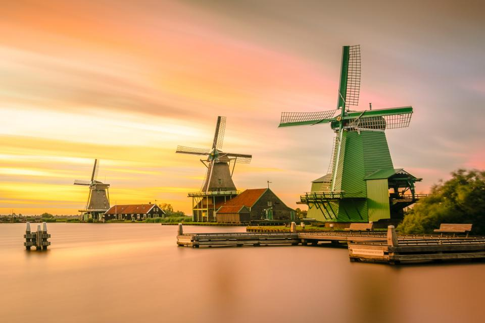 nature water ocean houses windmills sky clouds gradient hdr
