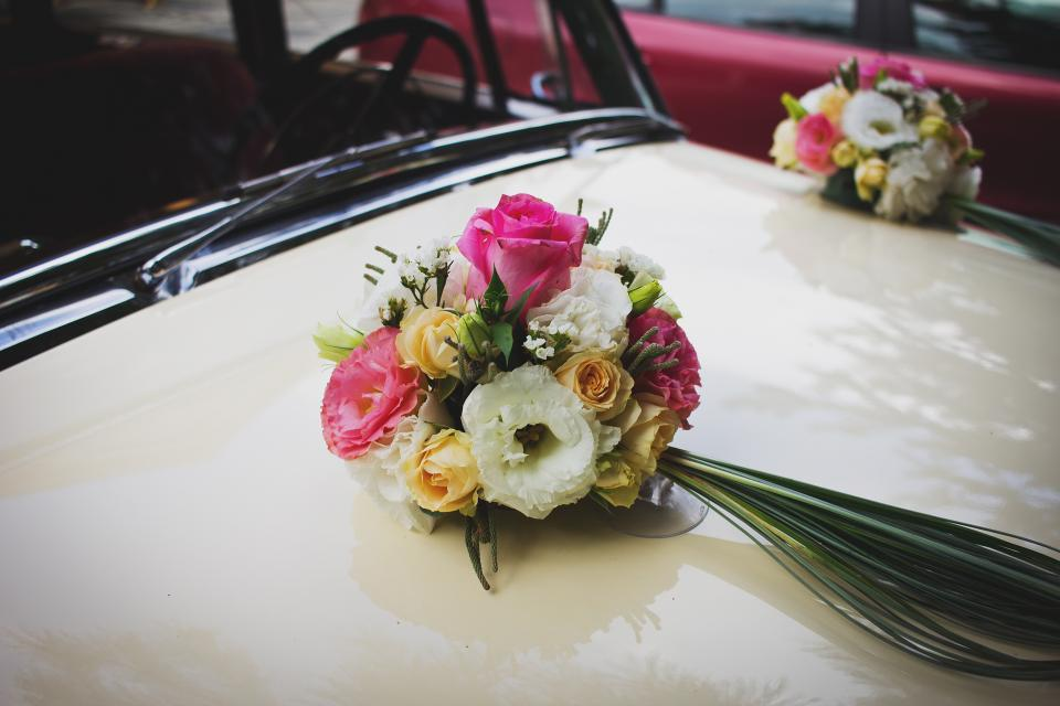 bridal car vehicle wedding colorful flower petal