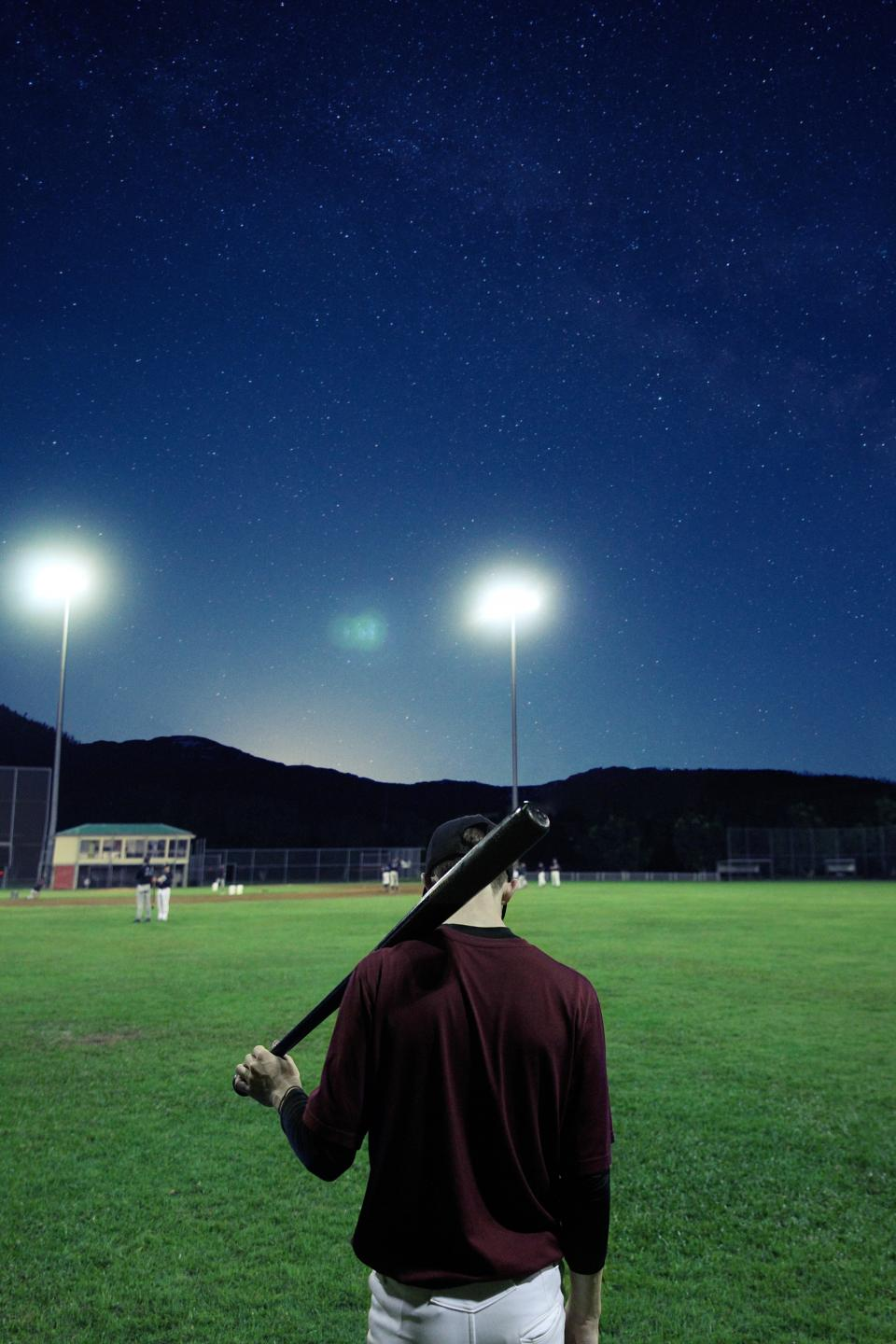 people baseball sports hobby court ball galaxy night sky dark lamp team constellation