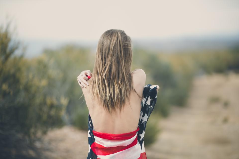 blur outdoor back people woman girl usa flag america