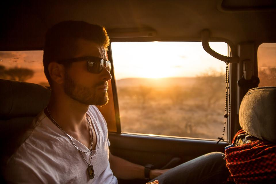 guy face sunglasses beard fashion people jeep vehicle sunset car
