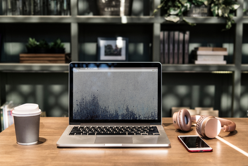 background blank computer connection copy space coworking space design space desk desktop device digital display drink electronic headphones innovation internet laptop lifestyle listening melody mockup monitor music musical n