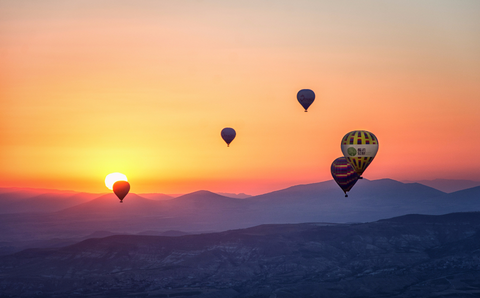 hot air adventure aerial air hot balloons clouds color dawn flight float floating fly blue landscape sunset