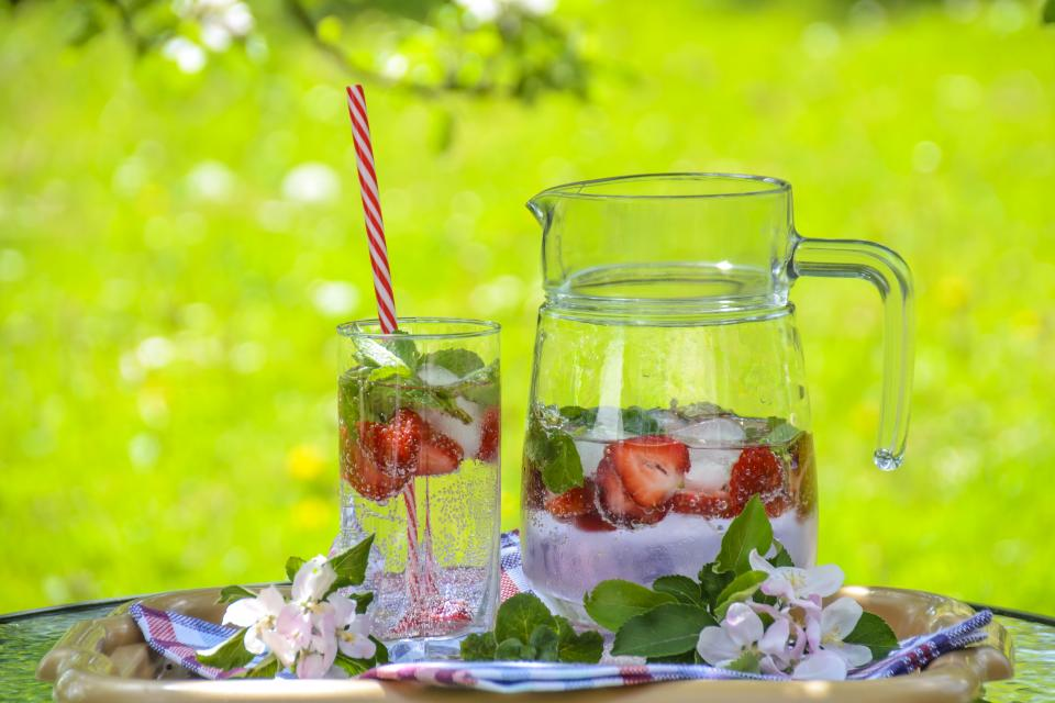 strawberry food crops fruits red juice woods sweet seeds beverage jam glass