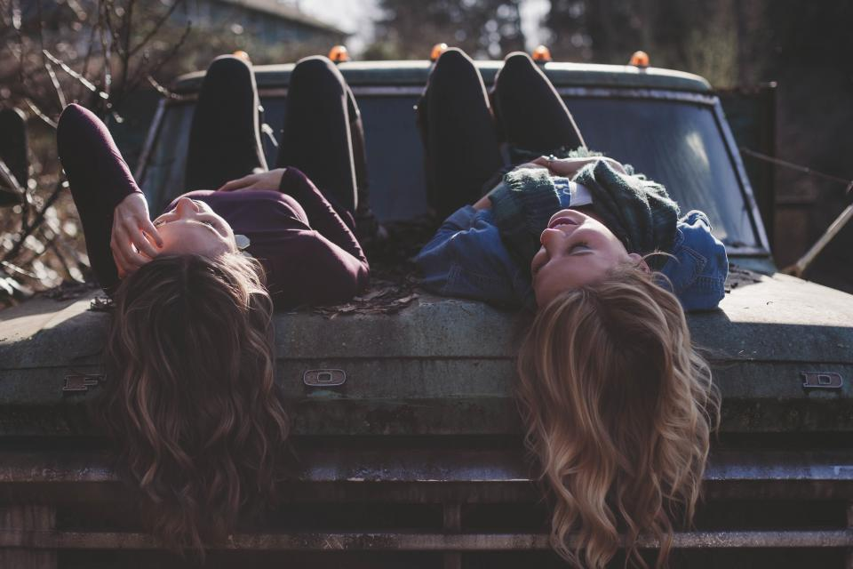 girls woman women people laughing smile smiling happy lifestyle truck friends
