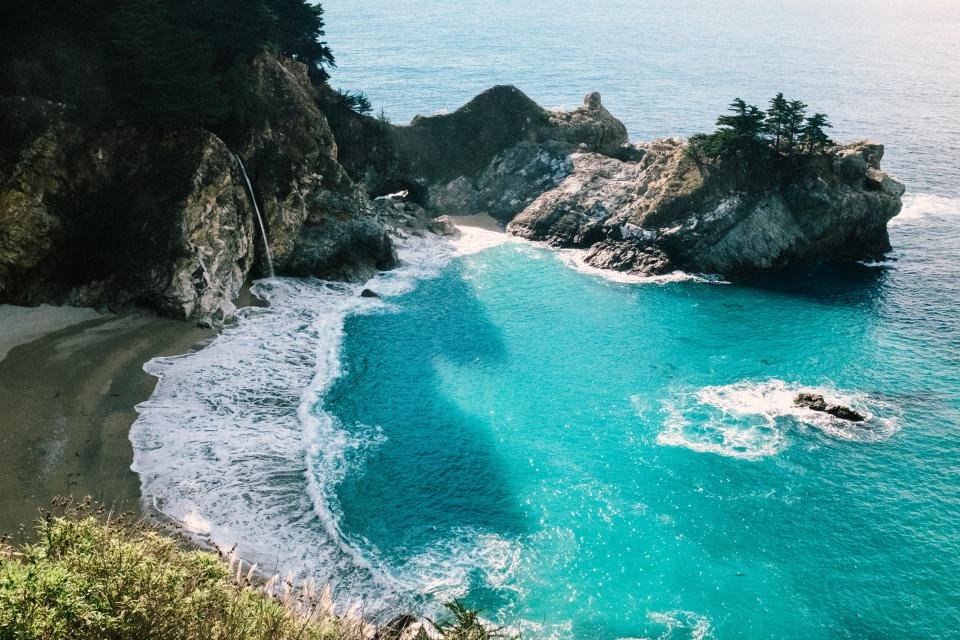 nature landscape water ocean sea beach current waves rock travel adventure trees vacation