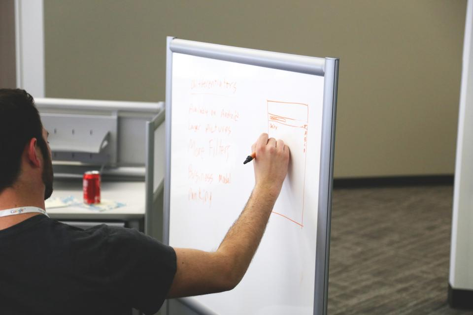 whiteboard planning marker business guy man office meeting