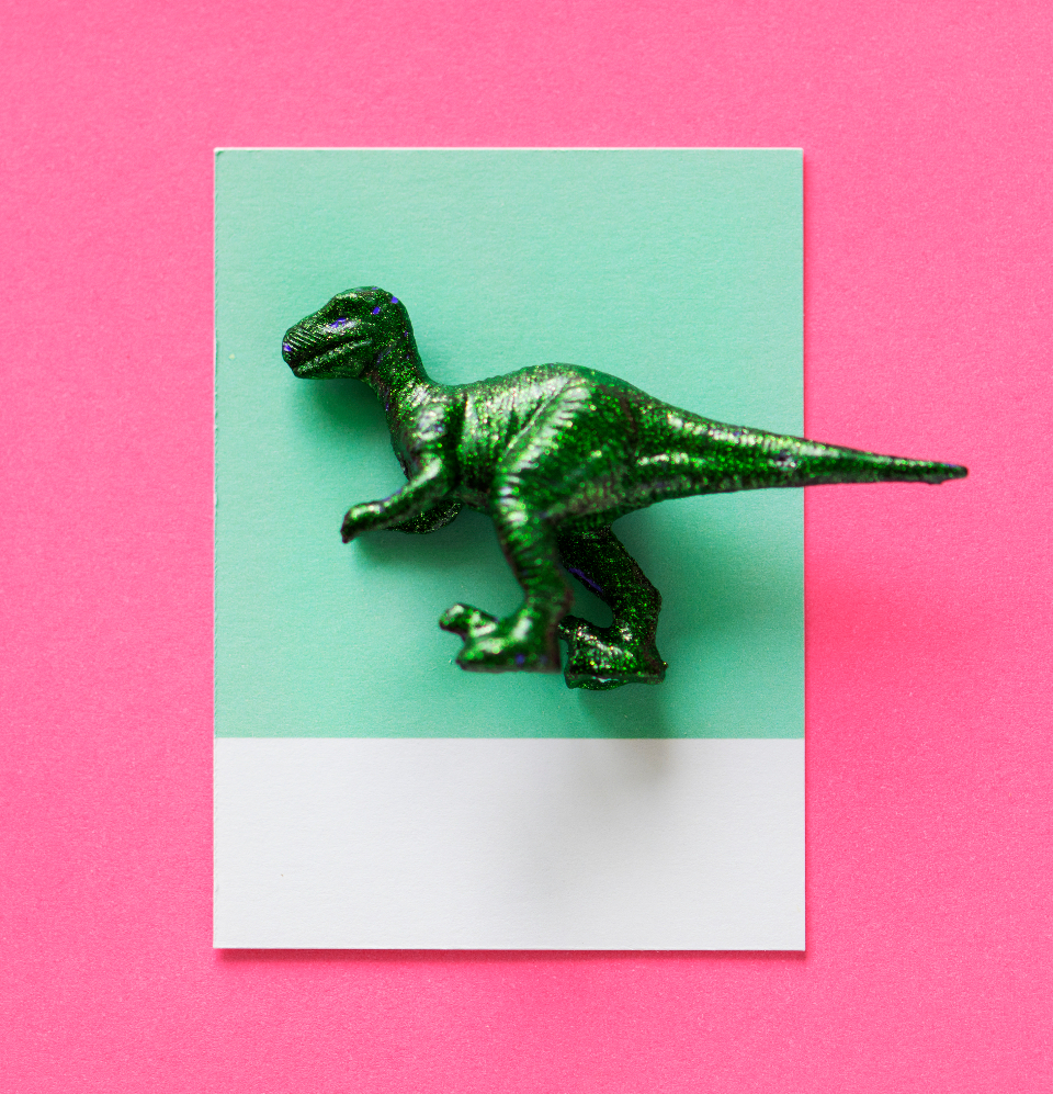 background card dinosaur figure fun green joy little metallic mini miniature model paper pattern pink play shape small symbol tags textured tiny toy