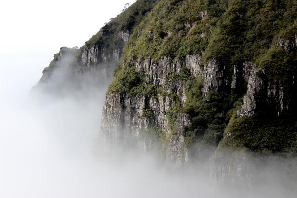 nature mountain smoke fog white sky green