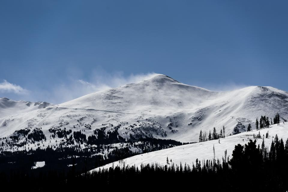 mountain highland cloud sky summit ridge landscape nature valley hill snow winter view travel trees forest