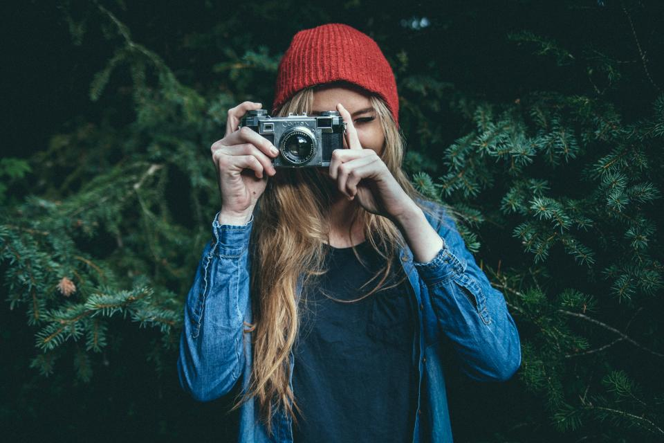 girl woman photographer photography camera fashion hat blonde long hair people lifestyle