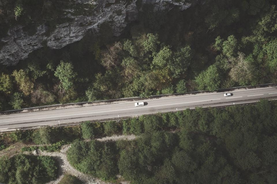 aerial view mountain hill trees plants green forest pathway road trip travel car vehicle