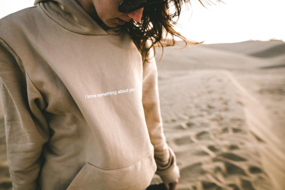 people statement jacket hoodie sand desert shades sunglasses eyewear