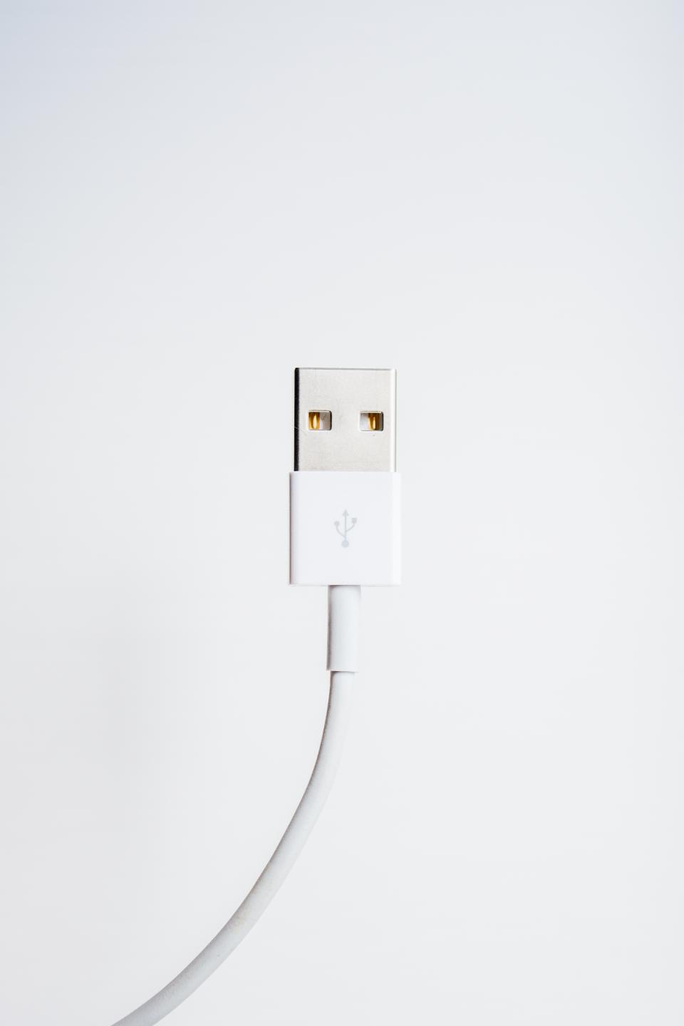 usb cord white wall technology