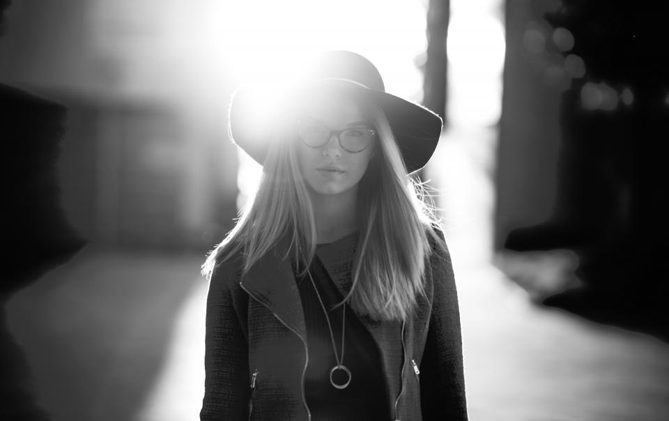 people woman girl lady hat glasses black and white grayscale monochrome