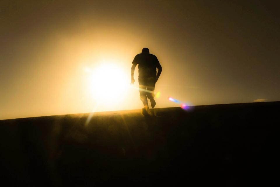 dark silhouette man guy sunset rays landscape black back