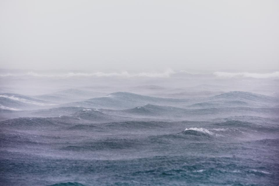 sea ocean water waves nature fog rain