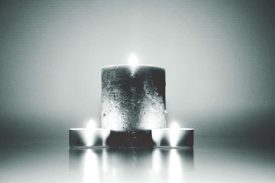 fire candles wax black and white grayscale