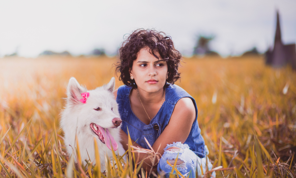 young girl dog anmimal people pet canine wolf white female crops field farm autumn fall portrait pose