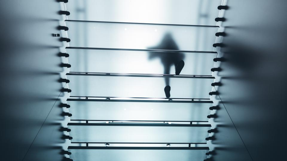 architecture building infrastructure glass stairs silhouette people walking