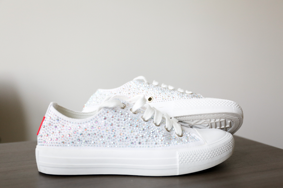 sneakers shoes close up pair fashion rhinestone footwear casual sneaker laces white minimal objects
