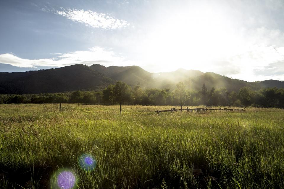 green grass rural countryside field trees mountains landscape nature sun rays sunshine sky clouds