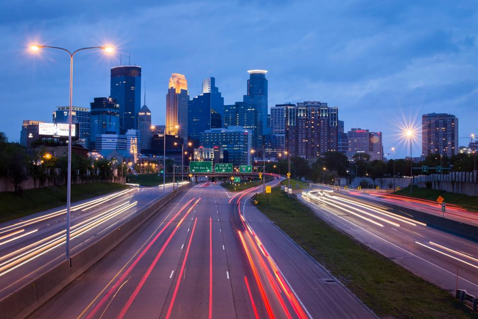Minneapolis city urban traffic night cityscape mpls lights highway