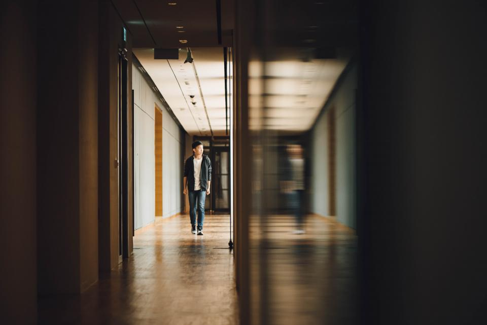 people man teen fashion reflection blur hallway alone building