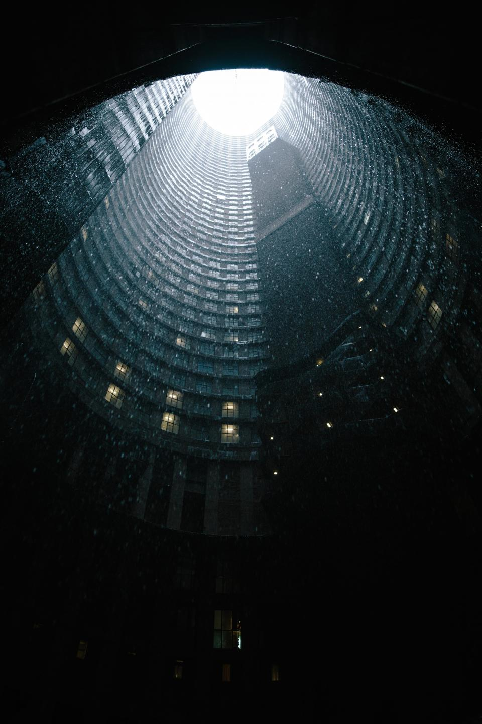architecture building infrastructure skyscraper tower dark rain raining
