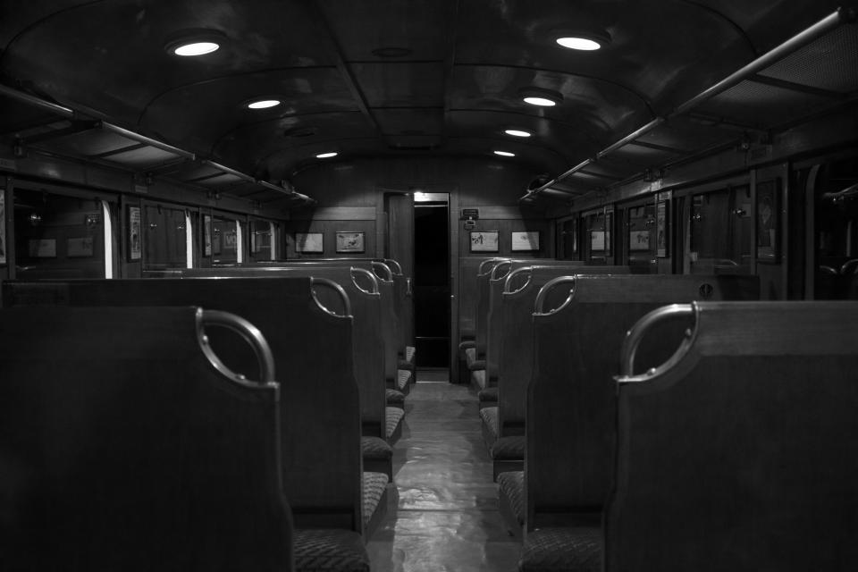 black and white seats train transportation travel