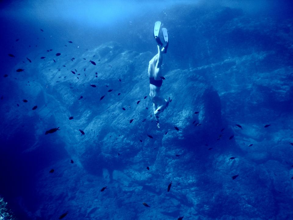 sea ocean blue water nature underwater people man diving swimming fish coral reef