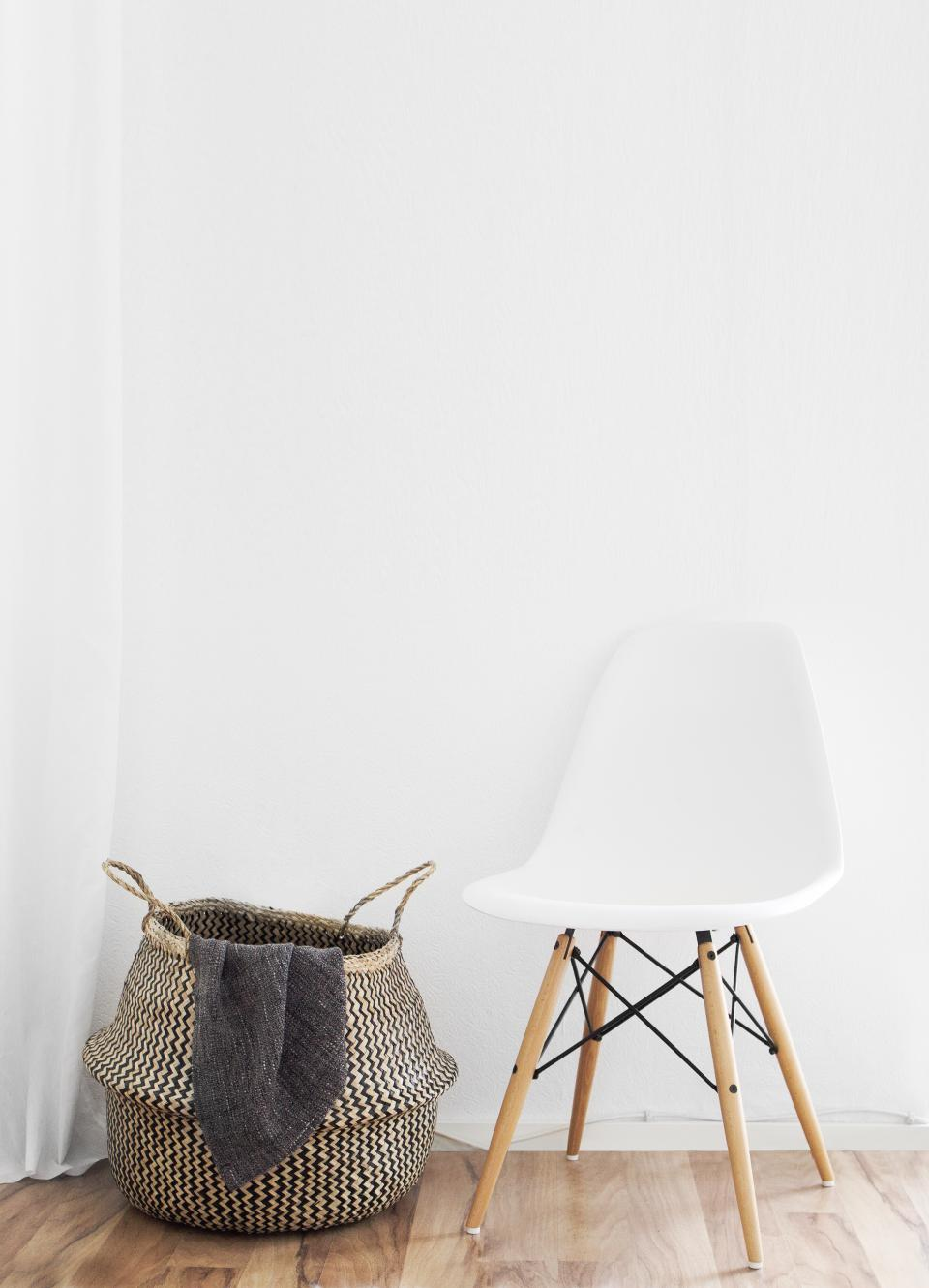 still items things basket chair modern contemporary interior design wood floor white minimalist
